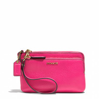 MADISON DOUBLE L-ZIP WRISTLET IN LEATHER