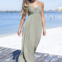 The Golden Hour Olive Crochet Maxi Dress
