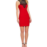 Honey and Rosie Crochet Neckline Sheath Dress - Red/Black
