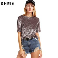 SHEIN T shirt Women Summer 2017 Womens Tops Coffee Short Sleeve Crushed Velvet T-shirt Casual Womens Tee Shirts