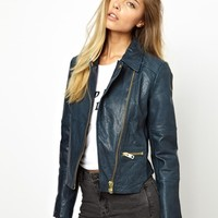 ASOS Curved Hem Leather Jacket -