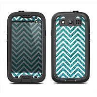 The Teal & White  Sharp Glitter Print Chevron Samsung Galaxy S3 LifeProof Fre Case Skin Set