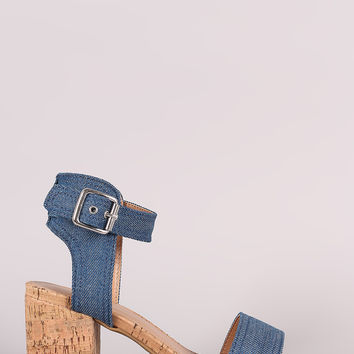 Bamboo Denim One Band Ankle Strap Cork Block Heel