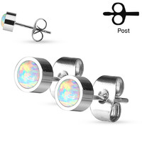 Opal Earrings Pair of Round Opal Bezel Set 316L Stainless Steel Stud Earrings