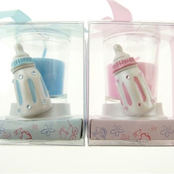 Baby Shower Party Favor - Boy or Girl Candle Votive Bottle, Light Blue