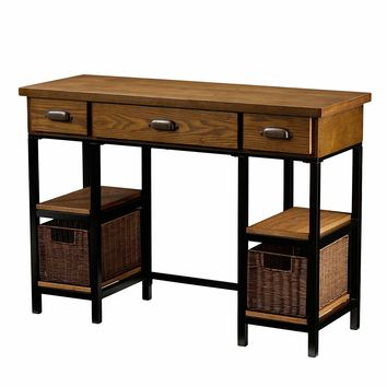 Natural Brown Finish Writing With 3 Drawers And 2 Rattan Baskets To Give It A Rustic Look