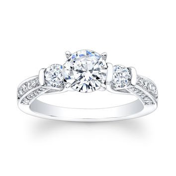 Ladies 14kt white gold past present future engagement ring 0.50 ctw G-VS2 diamond quality with 1ct White Sapphire Round