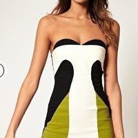 ASOS | ASOS Bandeau Dress in Colour Block at ASOS