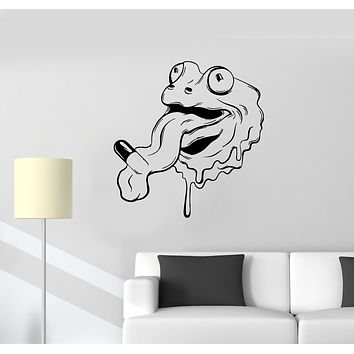Wall Decal Lizard Frog Tablets Medicine Tongue Vinyl Sticker (ed1339)