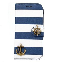 Bessky(TM) Iphone 5s case, Hot Sell Navy Stripes Anchor Rudder Wallet Case Cover (iPhone 5 5G 5S)