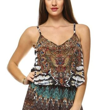 Crystal Embellished Animal Print Romper