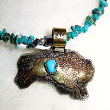 Silver bison and Navajo turquoise necklace