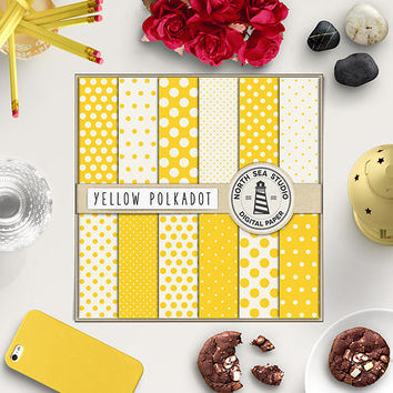 Polkadot Digital Paper Yellow Polkadots Lemon Paper Yellow Backgrounds Polka Dot Printable Invitation Paper Digital Scrapbooking 12x12 In