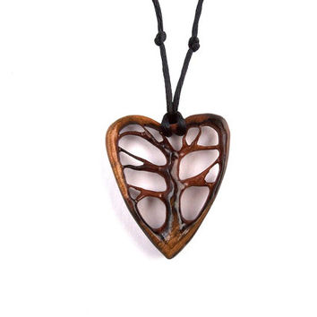 Wood Jewelry, Tree of Life Pendant, Wooden Pendant, Tree of Life Necklace, Wood Necklace, Wooden Jewelry, Heart Pendant, Wood Carved Pendant