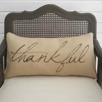 Thankful- Burlap Pillow - Fall Pillow - Thanksgiving Decor