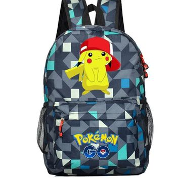 HOT-sale Anime  Go Game Backpack canvas Pikachu men women shoulder travel bag  Boys Girls Teenagers schoolbag RucksackKawaii Pokemon go  AT_89_9