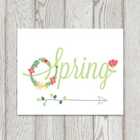 Spring decor print Hello Spring arrow art Floral spring typography art 5x7, 8x10 Spring sign Spring home decor printable Poster DOWNLOAD