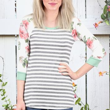Striped Body + Floral Sleeve French Terry Raglan {Ivory Mix}