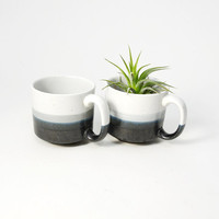Pair of Two Vintage Handcrafted Japanese Horizon Line Mugs
