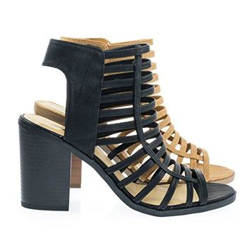 Soda High Block Stack Heel Gladiator Horizon Strap w Zipper Women Shoes