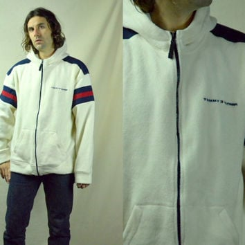Vintage 1990's Tommy Hilfiger Hooded Fleece Zip Up Tommy Flag Lo Head Jacket, XL