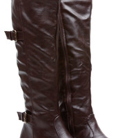 Brown Faux Leather Knee High Strapped Riding Boots
