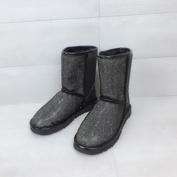 UGG pearl rhinestone warmth in the tube snow boots black