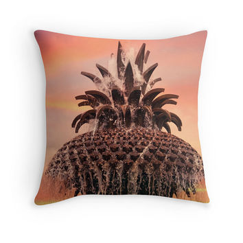 Charleston Pineapple Fountain Pillow - Pink, Orange Novelty Cushion, Travel, Landmark, South Carolina