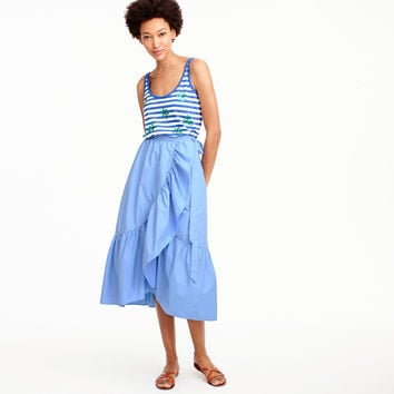 Ruffle wrap skirt in cotton poplin : Women A-line/Midi | J.Crew