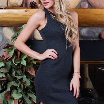 Millie Ribbed Dress - Charcoal