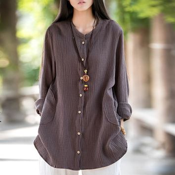 Trendy Johnature Women Double Cotton Jackets 2018 Spring New Vintage Loose Solid Color Cotton Linen O-Neck Long Sleeve Coats AT_94_13