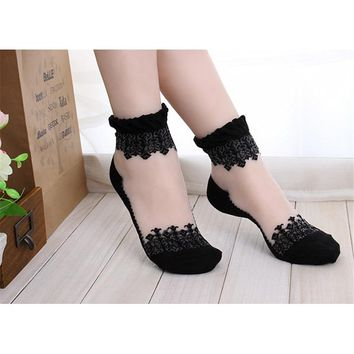 2018 summer Women Lace Ruffle Ankle Sock Soft Comfy Sheer Silk Cotton Elastic Mesh Knit Frill Trim Transparent Women's socks