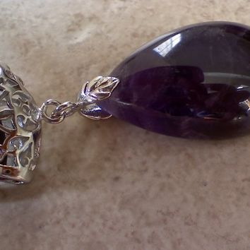 BEAUTIFUL AMETHYST PENDANT BEAD NECKLACE