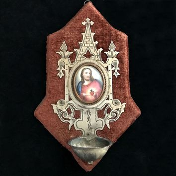 Antique French Sacred Heart of Jesus Holy Water Font