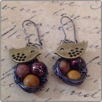 Wire Wrapped Earrings, Gunmetal Bird Nest Earrings, Dangle Earrings, Vintage Inspired Earrings, Sparrow Nest Earrings