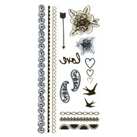 Metallic Boho Temporary Tattoos Gold Combo One Size For Women 25396807901