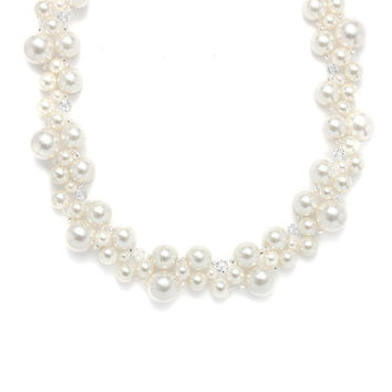Crystal &  Pearl Bubbles Bridal Necklace - Ivory/AB -