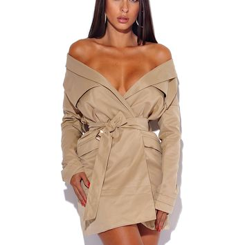 Wynie Beige Off the Shoulder Wrap Around Belt Trench Coat