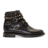 Black Studded Strap Combat Boots