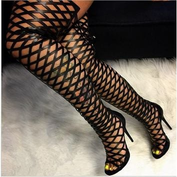 Hollow Out Peep Toe Stiletto Heel Lace Up Over-knee Boot Sandals