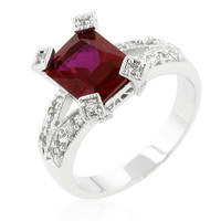 Ruby Red CZ Silvertone Fashion Ring