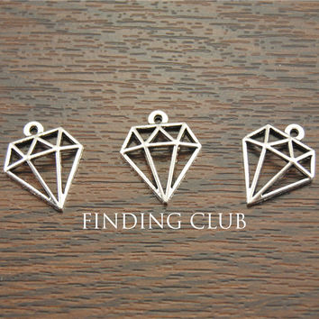 Free Shipping! 50 pcs Antique Silver  hollow diamon shaped charms Pendants 11x19mm DIY Metal Jewelry Findings A1164