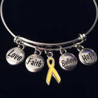 Yellow Awareness Ribbon Love Faith Believe Hope Bracelet Expandable Adjustable Silver Wire Bangle Trendy Gift (Other Awareness Ribbons Available)