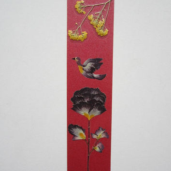 "Handmade unique bookmark ""I wish you a peaceful flight"" - Pressed flowers bookmark - Unique gift - Paper bookmark - Original art collage."