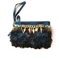 Peacock Feather Leather Evening Clutch