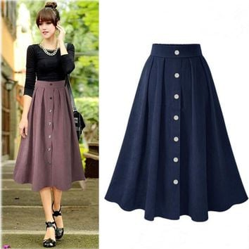 Skirt Women's Fashion Autumn Stylish Vintage High Waist Dress Prom Dress [196916969498]