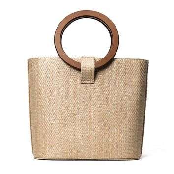 26x22CM 2017 New Trend Straw Bag Package Women Beach Vacation Handbag Bag Round Wood handle A2974