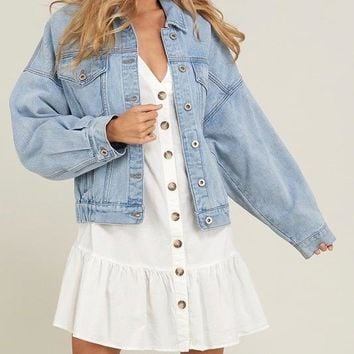 premium wash cotton denim jacket - denim