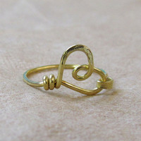 Heart Ring, yellow brass wire, casual, simple, custom sized ring, hammered, rustic, textured
