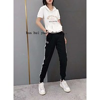 Woman Leisure Fashion Letter Personality Printing Hooded Short  Sleeve Tops Stripe Trousers Two-Piece Set Casual Wear Sportswear